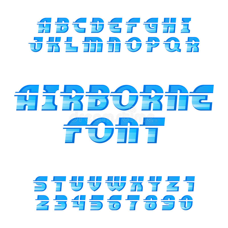 Airborne alphabet vector font. Oblique type letters and numbers. vector illustration