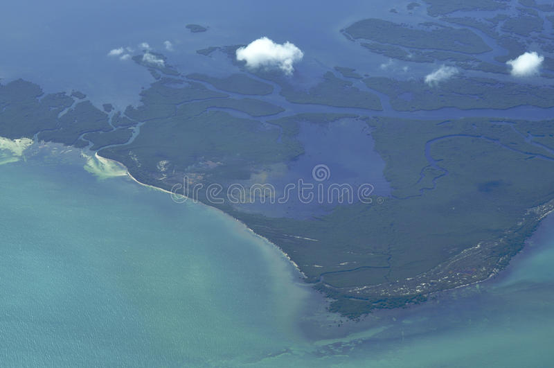 Airborne island view royalty free stock photography