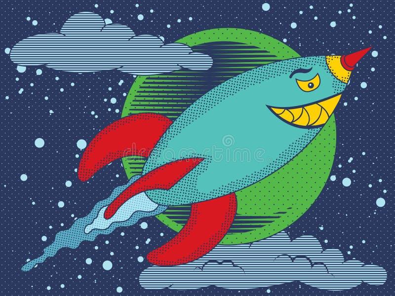 Airborne missile. Vector illustration of nasty smiling airborne missile in vintage comics style stock illustration