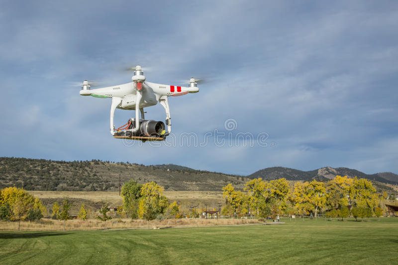 Airborne quadcopter drone over Colorado foothills royalty free stock photos