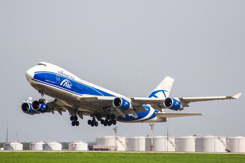 AirBridgeCargo Boeing 747-400ERF. Moscow, Russia - May 10, 2013: AirBridgeCargo Boeing 747-400ERF takes off the Domodedovo International Airport royalty free stock images