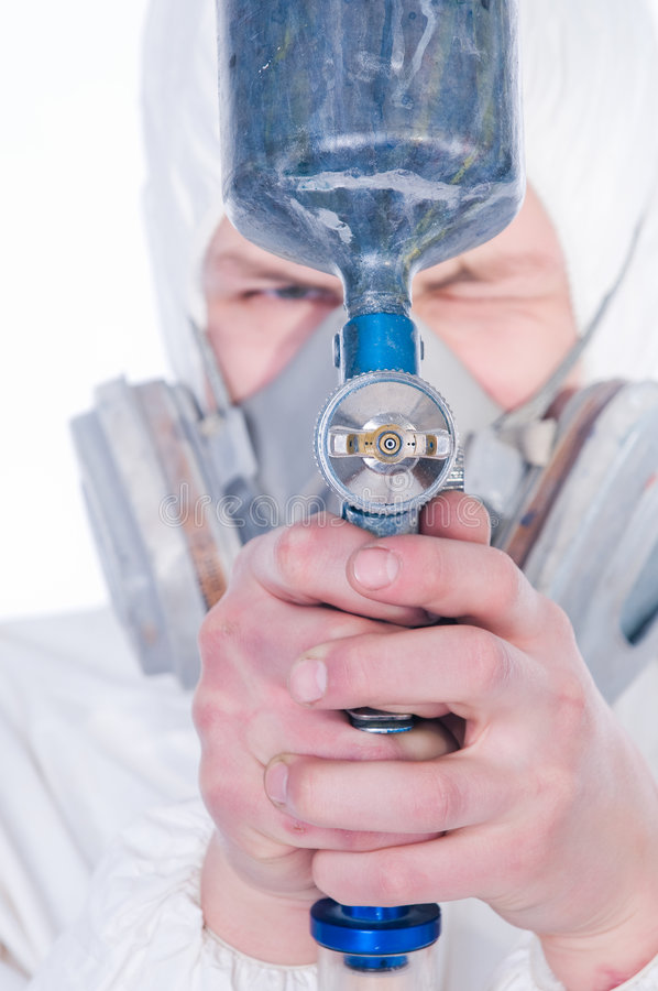 airbrush close gun up worker στοκ φωτογραφίες