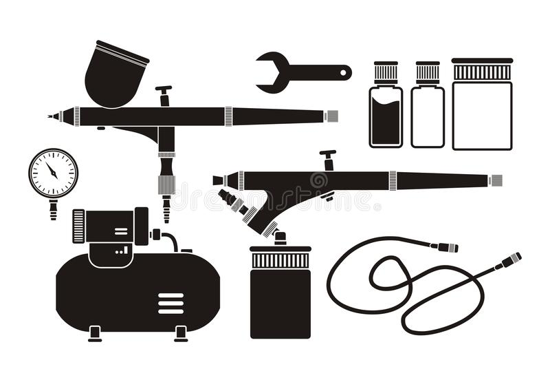 Airbrush equipment - pictogram. Suitable for illustrations stock illustration