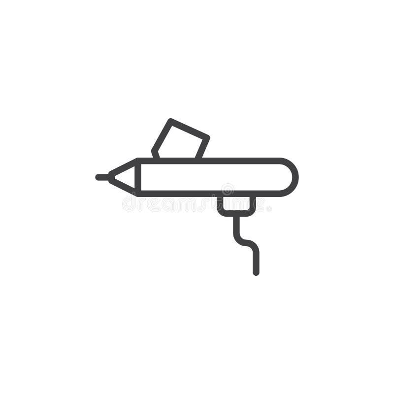 Airbrush line icon. Outline vector sign, linear style pictogram isolated on white. Symbol, logo illustration. Editable stroke stock illustration
