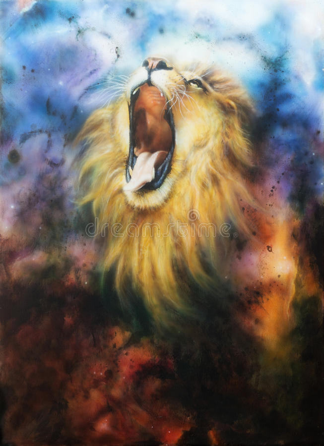 Airbrush painting of a roaring lion on a abstract cosmical back. Airbrush painting of a mighty roaring lion emerging from an abstract cosmical background stock illustration