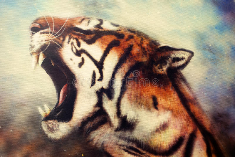 Airbrush painting of a roaring tiger. A beautiful airbrush painting of a mighty roaring tiger emerging from an abstract cosmical background with starlights stock illustration