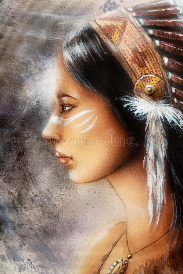 Airbrush painting of a young indian woman. Tribal stock illustration