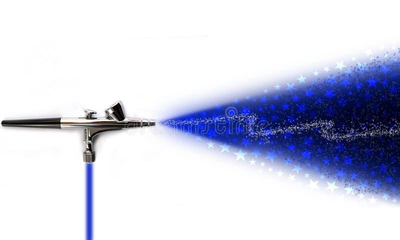 Airbrush sprinkling stars. Illustration of an airbrush sprikling stars on white background stock illustration