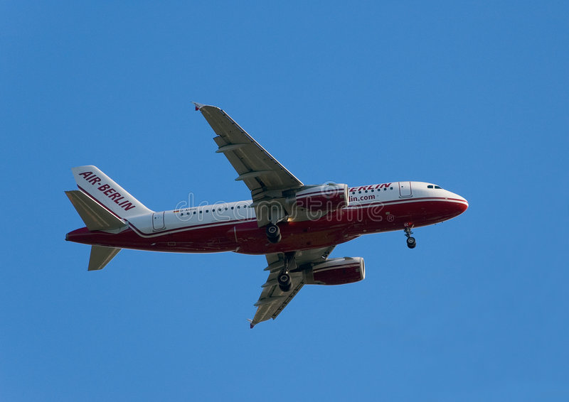 Airbus A319-100. Air Berlin - Airbus A319-100 - D-ABGC - in dive royalty free stock photo