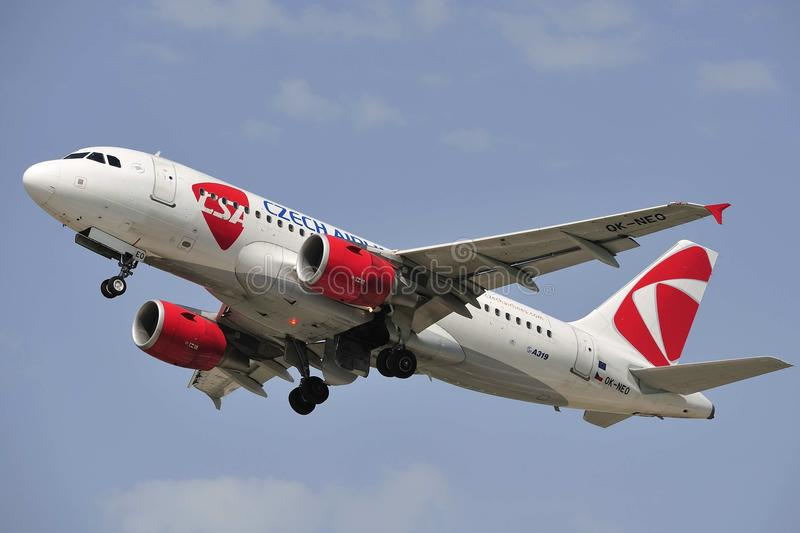 Airbus A319-112. Registration - OK-NEO, CSA - Czech Airlines, photo taken in Pardubice airport stock image
