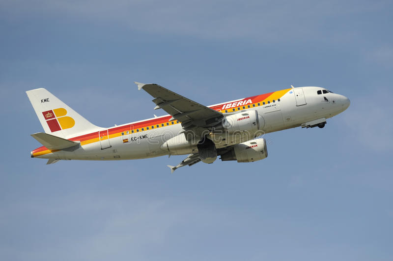 Airbus A319. MUNICH, GERMANY - SEPT. 9: Airplane Airbus A319 of spanish airline IBERIA takeoff at international airport munich in Germany Photo taken on royalty free stock images