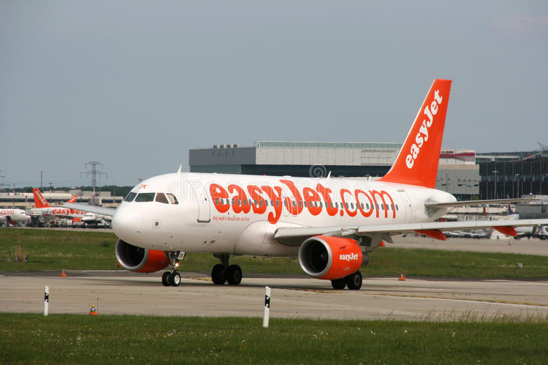 Airbus A319. GENEVA - AUGUST 16: Airbus A319 jet aircraft operated by easyJet on August 16, 2008 at Geneva Cointrin International Airport. EasyJet is the fourth royalty free stock photo