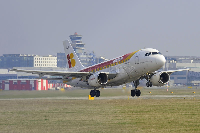 Airbus A319. Iberia Airbus A319 take off in Prague airport royalty free stock photography