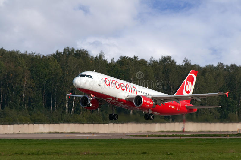 Airbus A319 jet aircraft. DOMODEDOVO, RUSSIA - SEPTEMBER 1: Aircraft operated by Air Berlin, taking off at Moscow airport in Domodedovo on September 01, 2011 royalty free stock images
