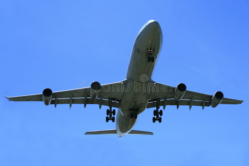 Airbus A340 Jetliner. This 4 engine A340 airliner is a near jumbo in size stock photo