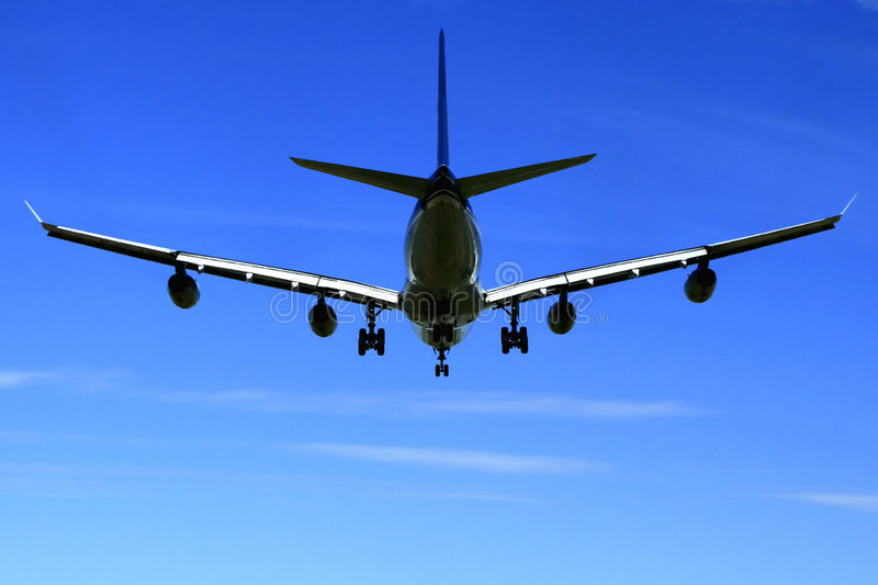 Airbus A340 Jetliner. This 4 engine A340 airliner is a near jumbo in size stock photos
