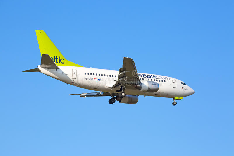 Airbus A319, Air Baltic. ZURICH - JULY 18: Airbus A319, Air Baltic landing in Zurich airport after short haul flight on July 18, 2015 in Zurich, Switzerland royalty free stock photo