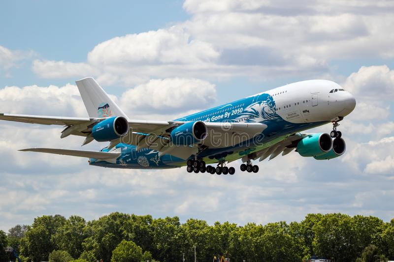 Airbus A380 airliner plane. LE BOURGET PARIS - JUN 21, 2019: Airbus A380 passenger plane performing at the Paris Air Show aircraft airplane aviation aeroplane royalty free stock photography