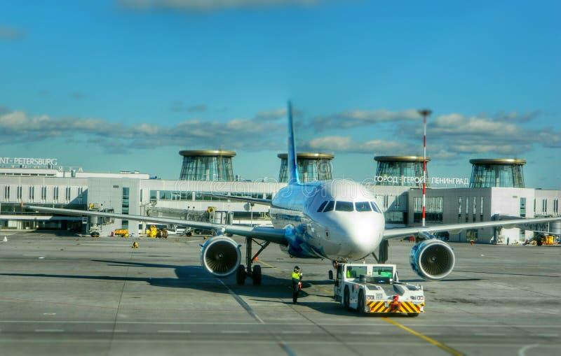 Airbus airplane airport saintpeterburg aviation royalty free stock photos