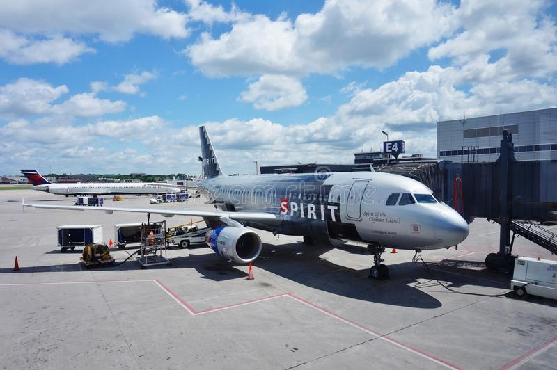 An Airbus A319 airplane from Spirit Airlines (NK). Minneapolis, MN -An Airbus A319 from Spirit Airlines (NK) at the Minneapolis-Saint Paul International Airport stock photos