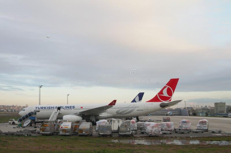 Istanbul, Turkey - Jan 02, 2015: Airbus A330 at airport. Airbus A330 at airport. Istanbul, Turkey - Jan 02, 2015 stock photo