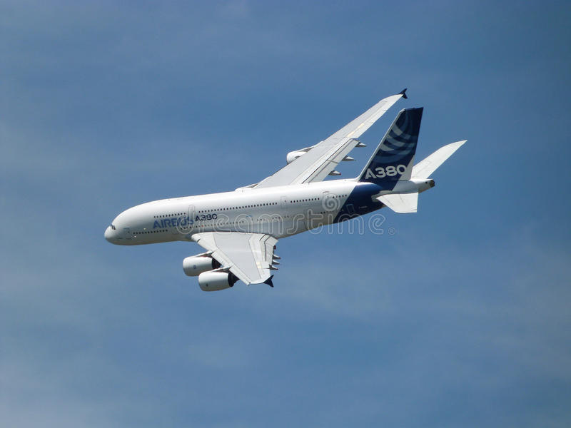 Airbus A380. Close up of Airbus A380 in flight at Farnborough Airshow 2014 stock photo