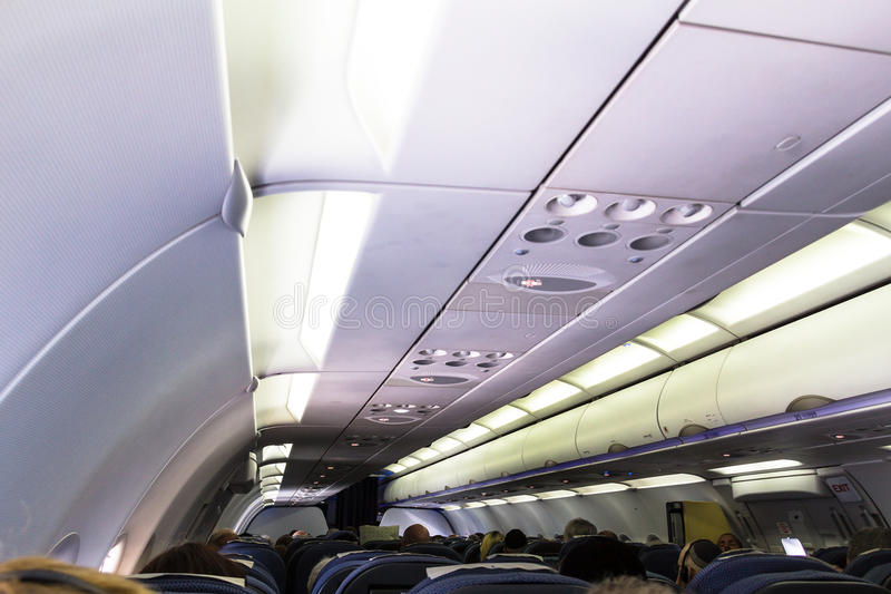 Airbus A320 Family's spacious cabin include wider seats for unmatched passenger comfort. British Airway A320 aircraft economy class cabin interior. Airbus A320 royalty free stock image
