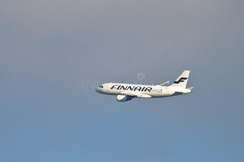 Airbus A319. Finnair's Airbus A319, reg. OH-LVA in the air. Photo taken 11.04.2019 in Espoo, Finland aeroplane aircraft airline airliner airlines airplane stock photos