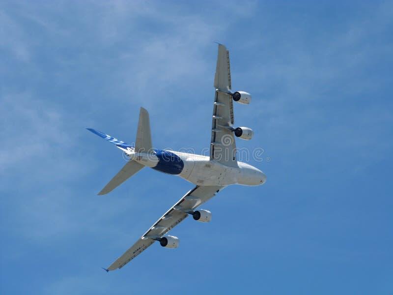 Airbus A380. In flight at Farnborough airshow 2014 stock photo