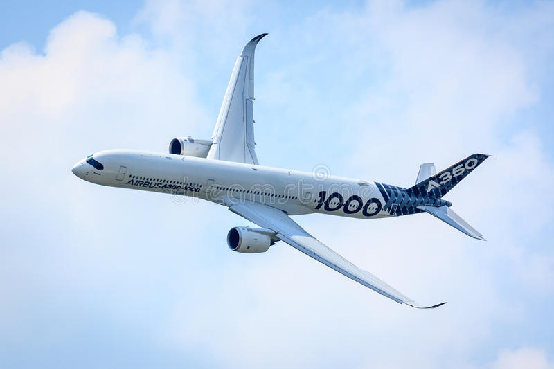 Airbus A350-1000. Flying a demonstration flight at the 2017 Paris Air Show at le Bourget, France royalty free stock photography