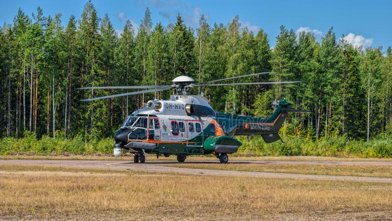 Airbus Helicopters H215 formerly Eurocopter AS332 Super Puma heavy-lift utility aircraft OH-HVP by Finland`s Border Guard. KOTKA, FINLAND - Aug 10, 2019: Airbus stock photo