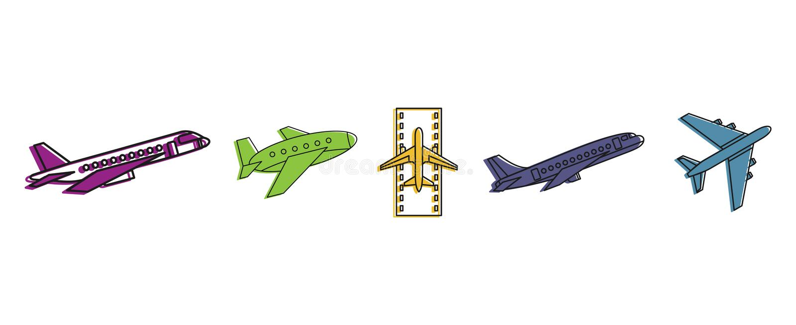Airbus Icon Set Color Outline Style Stock Vector Illustration Of