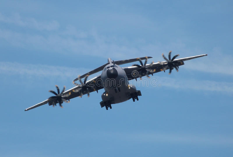 Airbus A400M. Military transport plane coming in to land at Farnborough airshow 2014 stock photo