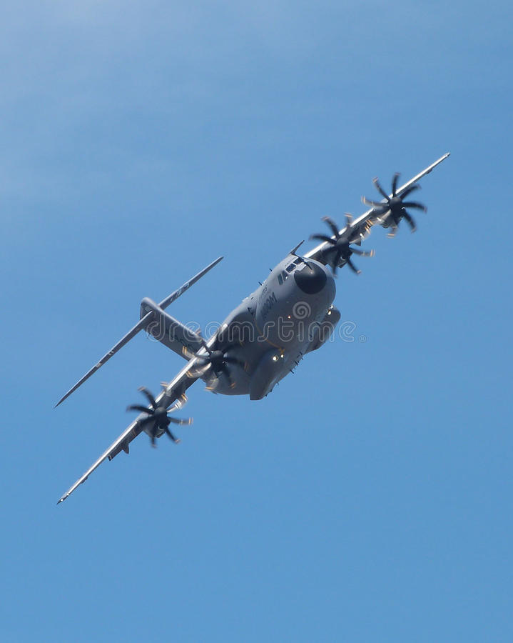 Airbus A400M. Military transport plane at Farnborough airshow 2014 stock photography