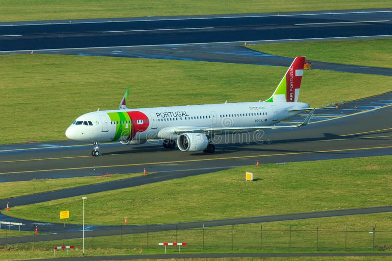 TAP Portugal Airbus A321 NEO. Airbus A321 NEO New Engine Option of TAP Portugal Transportes Ãreos Portugueses taxiing stock photos