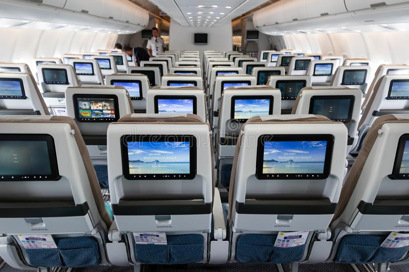 Airbus A3330neo passenger plane cabin. LE BOURGET PARIS - JUN 20, 2019: Cabin view of the Airbus A3330neo passenger plane from Air Mauritius at the Paris Air royalty free stock photo