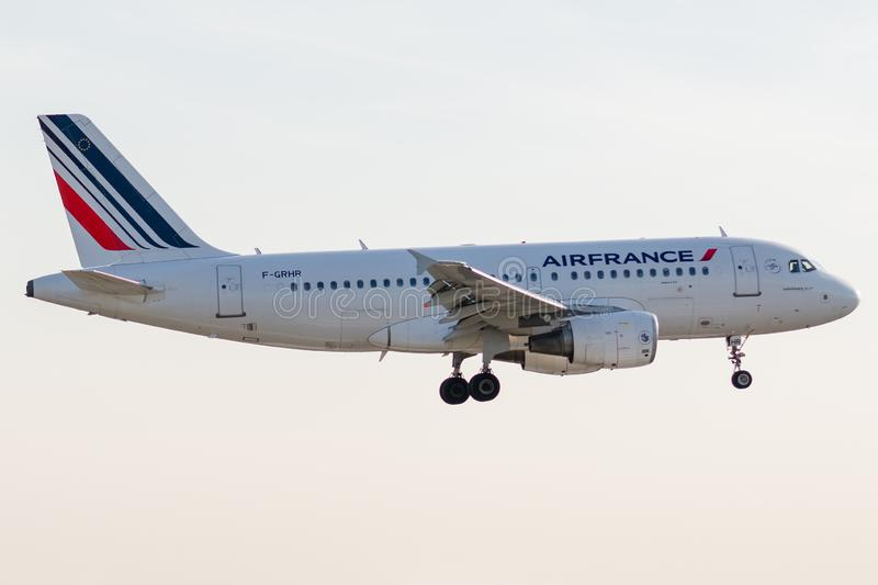 Airbus A319-111 - 1415, operated by Air France landing. F-GRHR - Airbus - A319-111 - 1415, October 17, 2018 landing at Paris Roissy Charles de Gaulle airport at stock photography