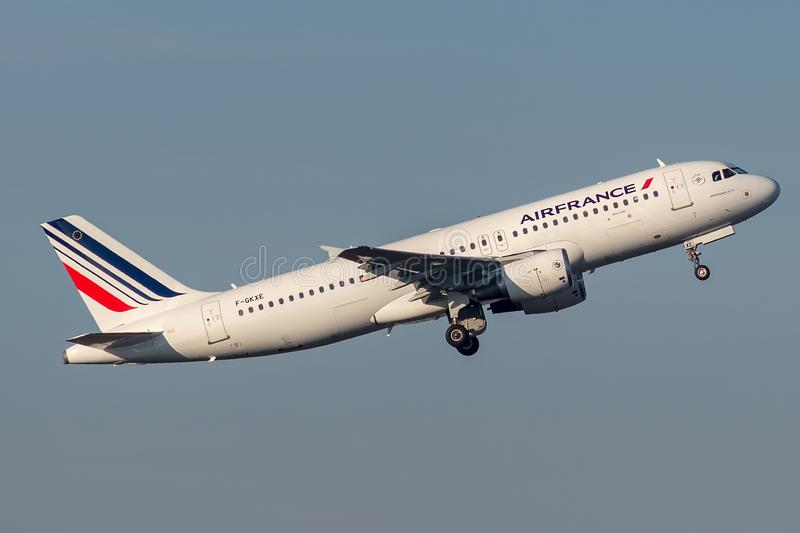Airbus A320-214 operated by Air France taking off royalty free stock photo
