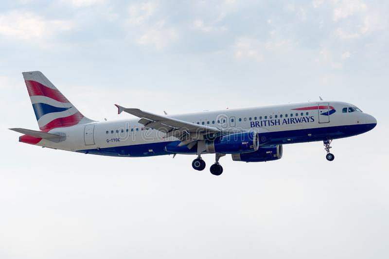 Airbus A320-232 - 1754, operated by British Airways landing. G-TTOE - Airbus - A320-232 - 1754, September 18, 2018 landing on Paris Roissy Charles de Gaulle on royalty free stock photos