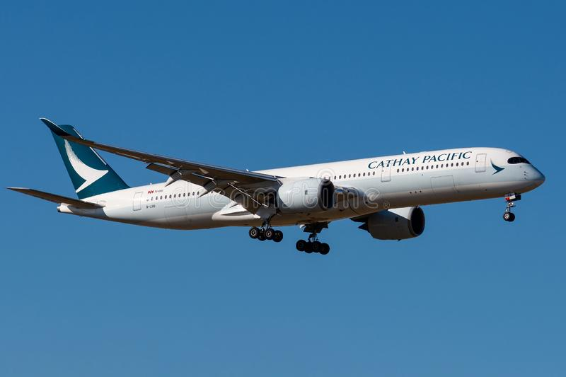 Airbus A350-941 - 032,operated by Cathay Pacific Airways landing stock photo