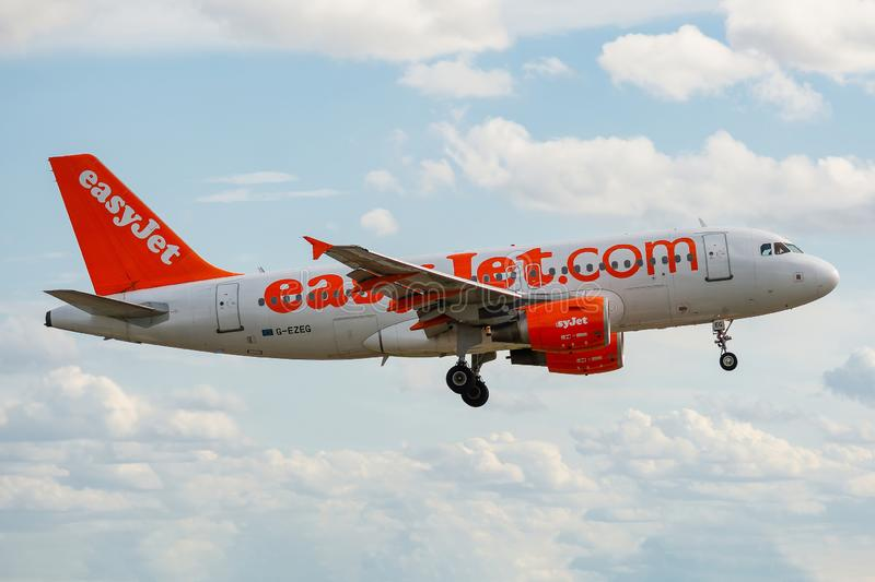 Airbus A319-111 operated by easyJet on landing. G-EZEG, 23 September 2019, Airbus A319-111-2181 landing at Paris Roissy Charles de Gaulle airport at the end of royalty free stock image