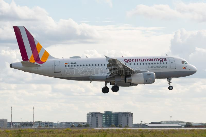 Airbus A319-132 operated by Eurowings on landing. D-AGWG, 23 September 2019, Airbus A319-132-3193 landing at Paris Roissy Charles de Gaulle airport at the end of royalty free stock photos