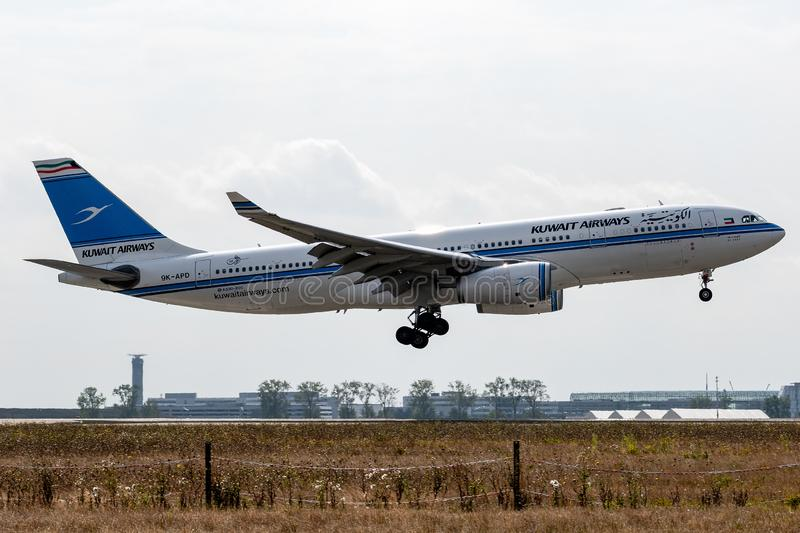 Airbus A330-243 - 1678, operated by Kuwait Airways landing. 9K-APD - Airbus A330-243 - 1678, September 18, 2018 landing on Paris Roissy Charles de Gaulle at the stock photo
