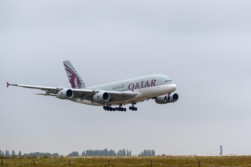 Airbus A380-861 - 143, operated by Qatar Airways landing. A7-APB Airbus A380-861 on 4 September 2018 in Paris Roissy Charles de Gaulle landing approach for Qatar royalty free stock image