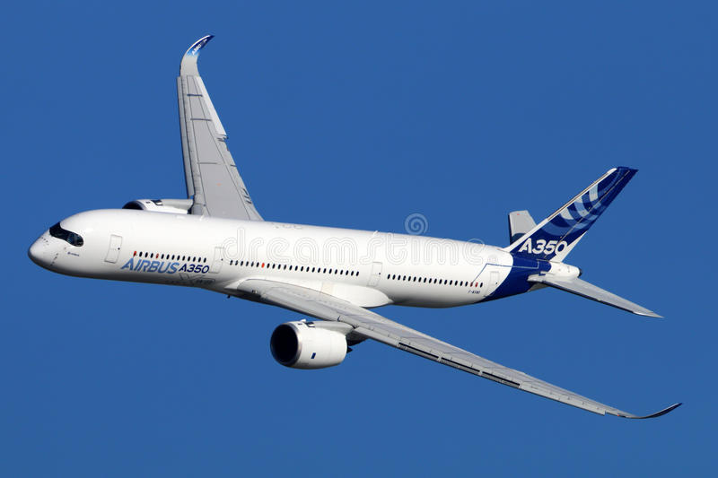 Airbus A350 perfoming demonstration flight in Zhukovsky during MAKS-2015 airshow. stock photography