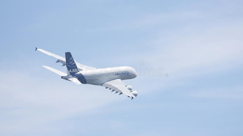 Airbus A380-841. Performing at the Farnborough Airshow 2014 in Hampshire, UK stock photo