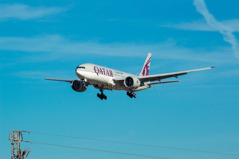 Airbus A330 Qatar plane taking off in Barcelona airport Josep Tarradellas Prat, Catalonia, Spain stock photography