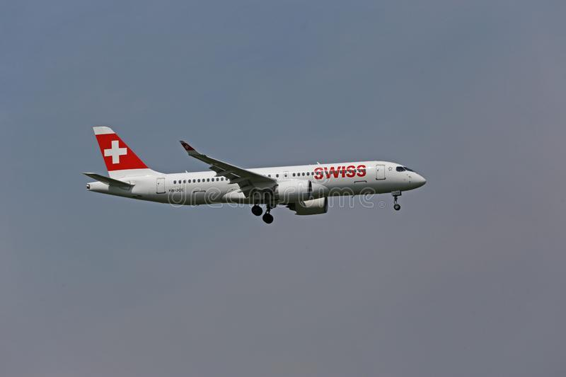 Swiss Airbus A220 landing royalty free stock images