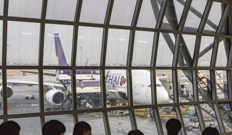 Airbus A380 Thai airlines parked at Suvarnabhumi Airport. stock photo