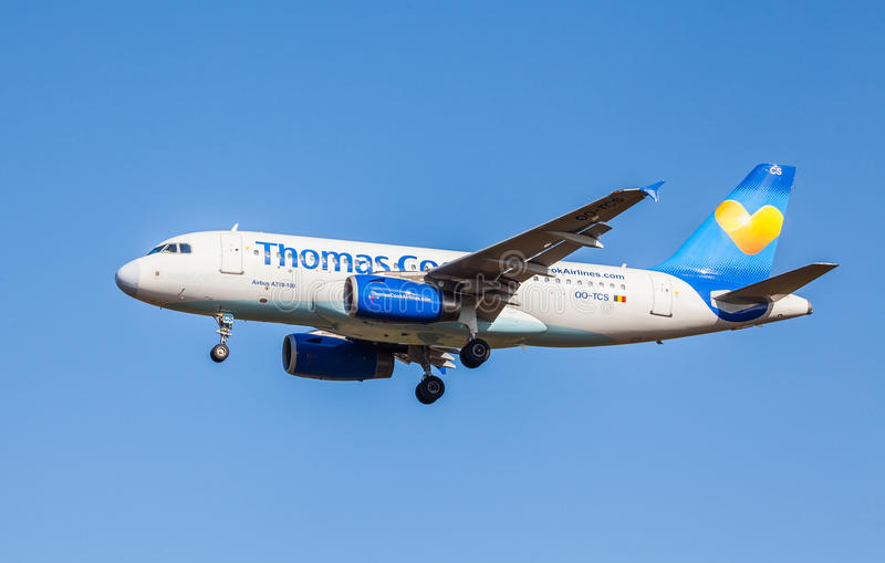 Airbus A319-100. From Thomas Cook Airlines at KEF Airport in Iceland stock photography